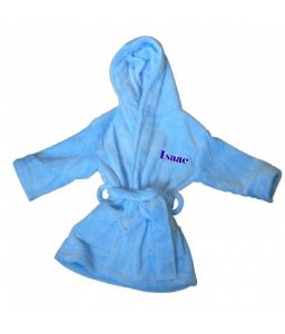 PERSONALISED BABY DRESSING GOWN/ROBE - pale blue